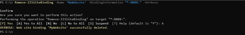 Removing site binding using Verbose parameter