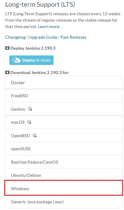 Installing the Windows package for Jenkins