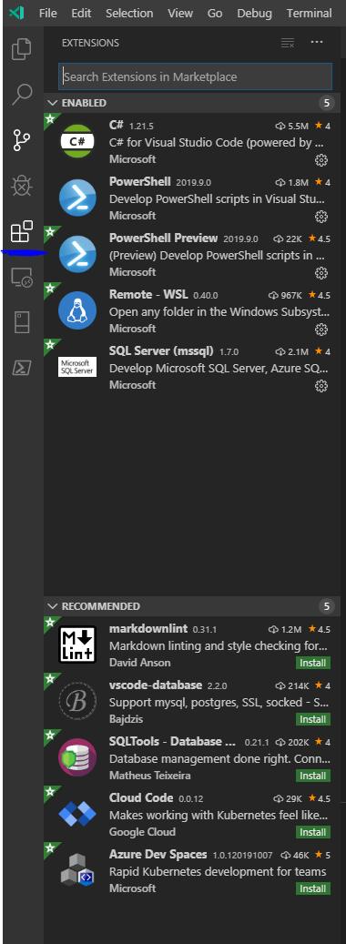 VS Code Extension menu