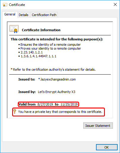 Validating certificate