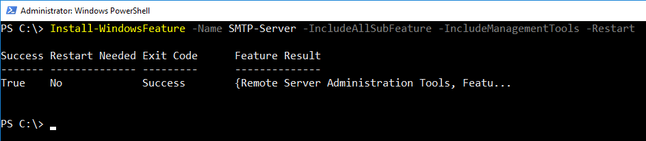 Installing the SMTP-Server Windows feature with PowerShell