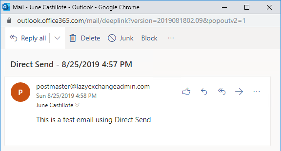 Message received by the internal recipient using Direct Send