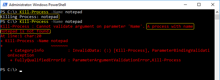 Parameter validation error
