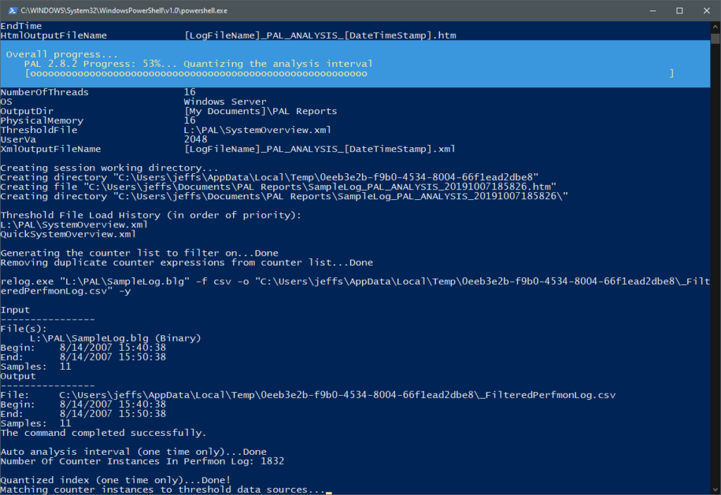 Executing the PAL.ps1 PowerShell script