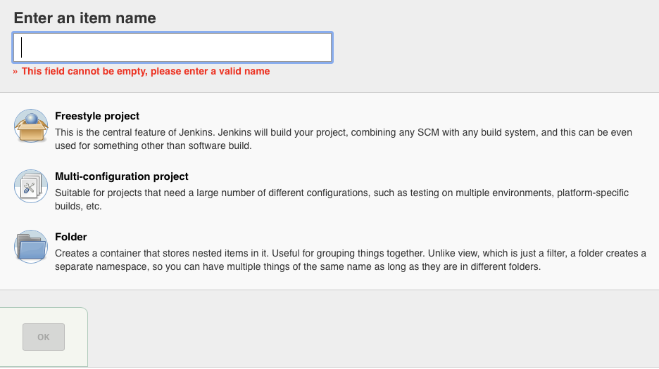 Creating a new Jenkins project