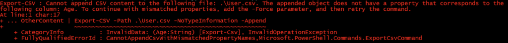 Export-Csv without Force