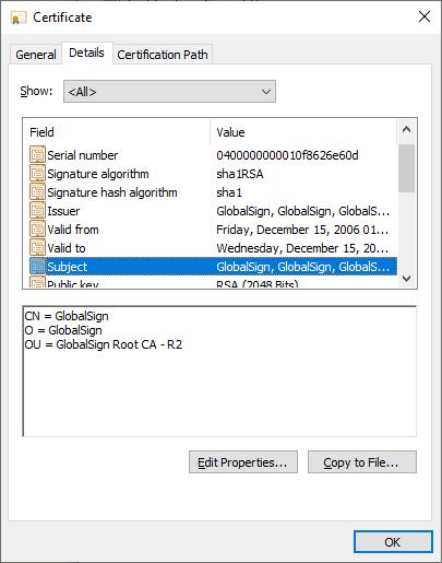 A common certificate shown in Windows