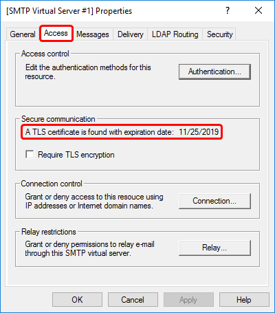 Inspecting TLS certification expiration date