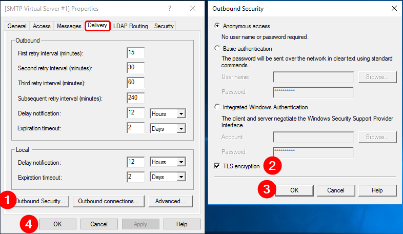 Setting TLS encryption on outbound email