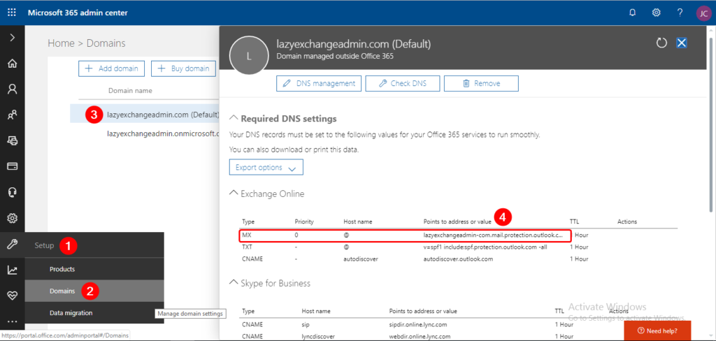 Finding Office 365 MX Endpoint URL