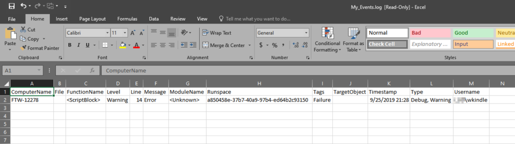 PowerShell logs in Excel