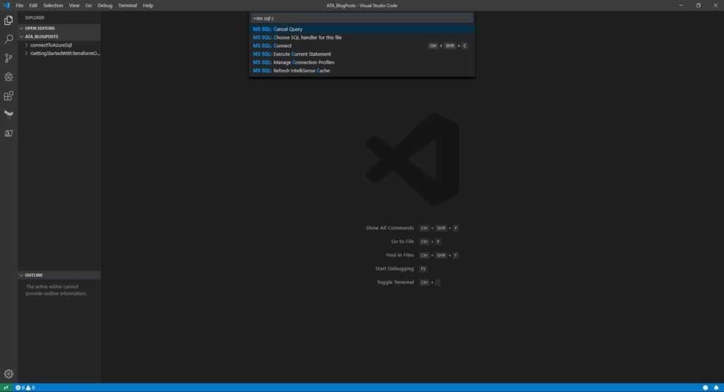 Using the MSSql extension in Visual Studio Code