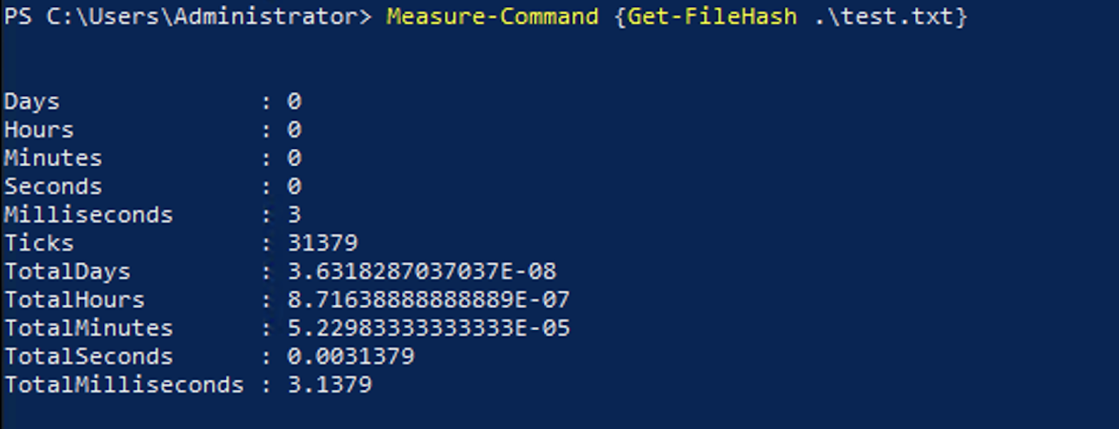Second run of the code completing in 3.1ms.