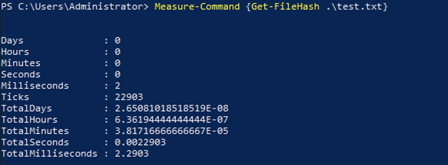Third run of the code completing in 2.3ms.