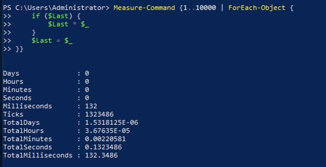 Result of ForEach-Object Command showing it completed in about 132ms.