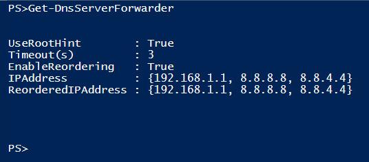 Confirming DNS server forwarder addition