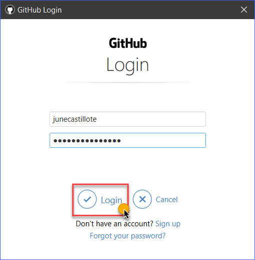 Log in with GitHub account