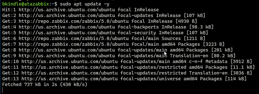 Output after updating APT repository on Ubuntu Server.