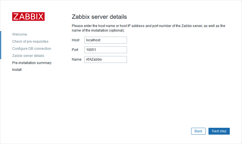 Zabbix web front end Zabbix server details