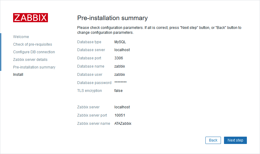 Zabbix web front end Pre-installation summary page