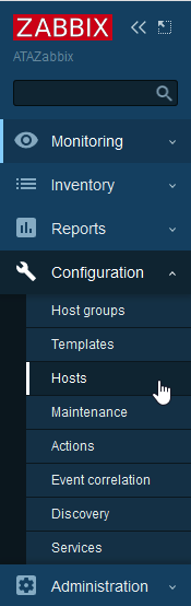 navigation menu on the left side of the Zabbix UI