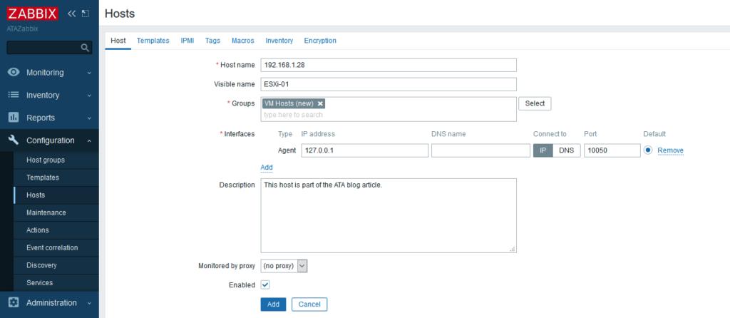 Zabbix Hosts configuration screen filled out