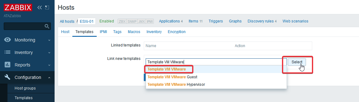 Zabbix Hosts Templates configuration screen linked template