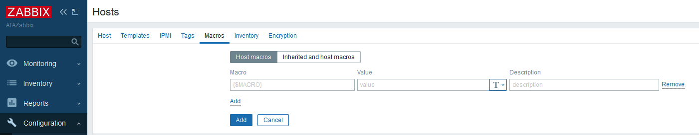 Zabbix Hosts Macros configuration screen