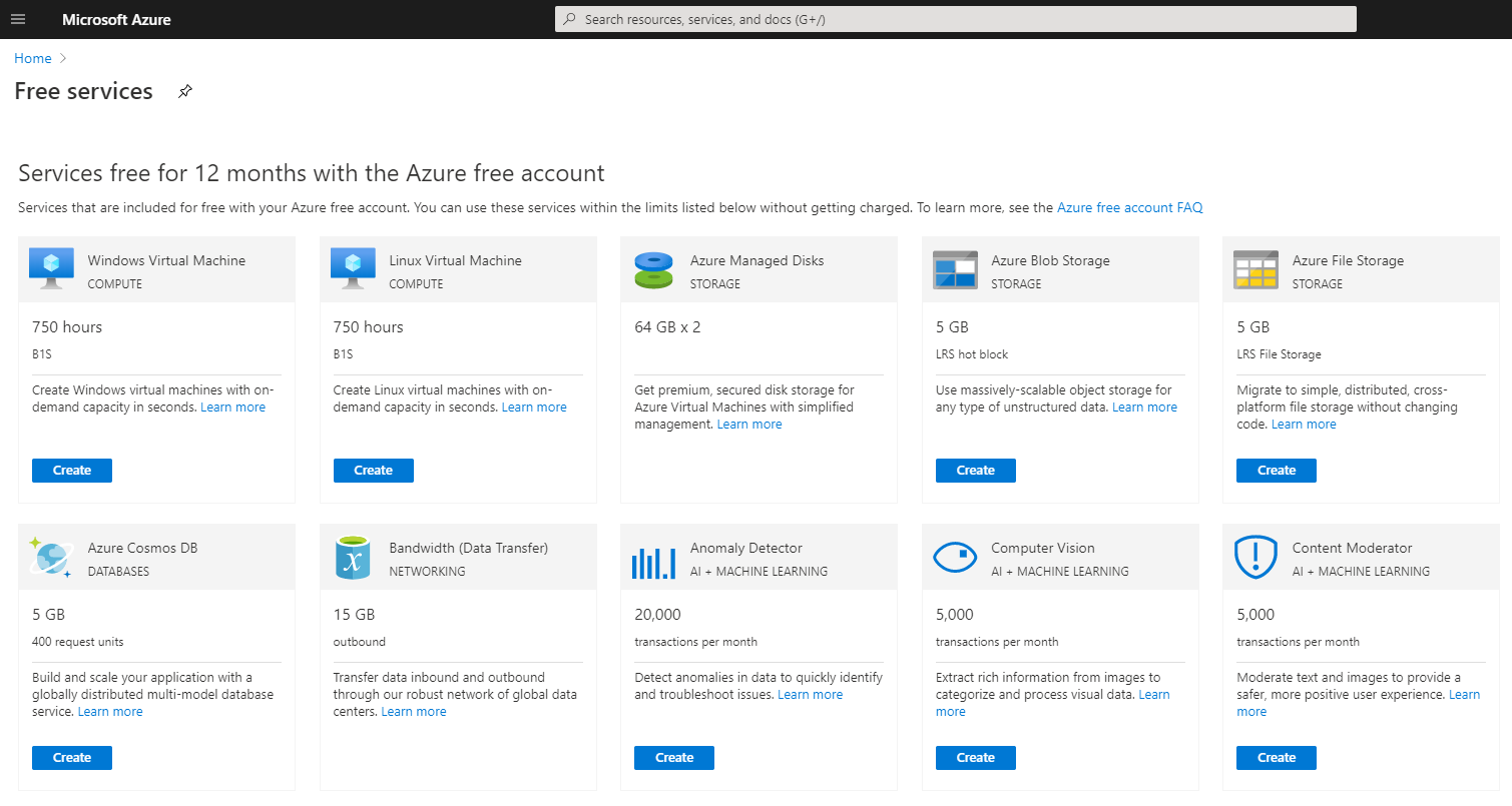 Microsoft Azure Portal showing the Free Services Available