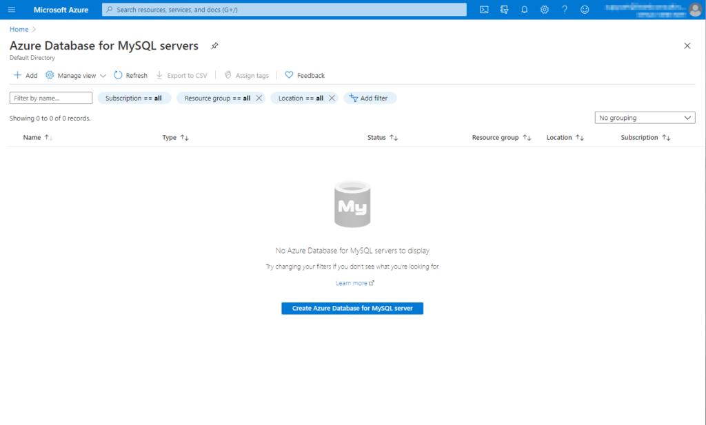 Azure Portal section to deploy a managed MySQL instance