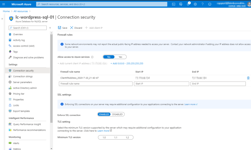 Allowing the client IP address through the MySQL firewall
