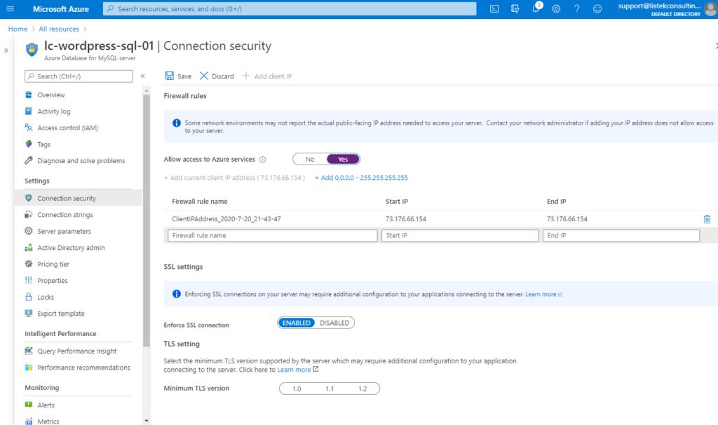Allowing Azure Services through the MySQL firewall
