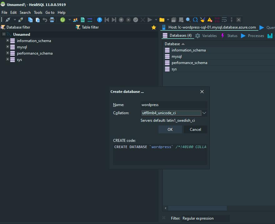 Entering the necessary WordPress database creation details in HeidiSQL