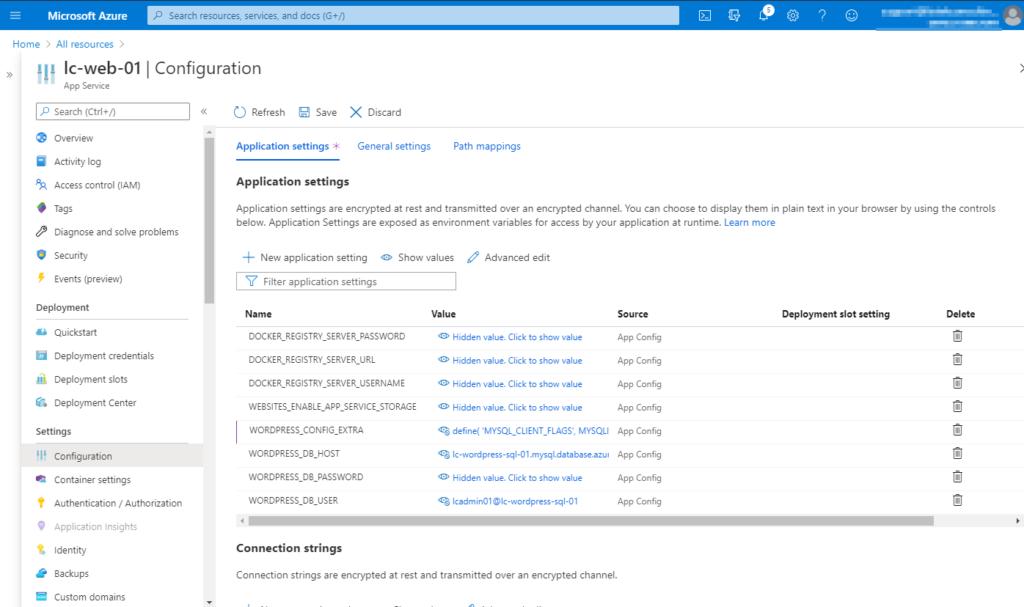 Verifying all entered Application settings