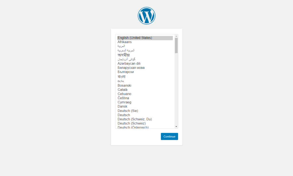 The choose language section of the WordPress installer