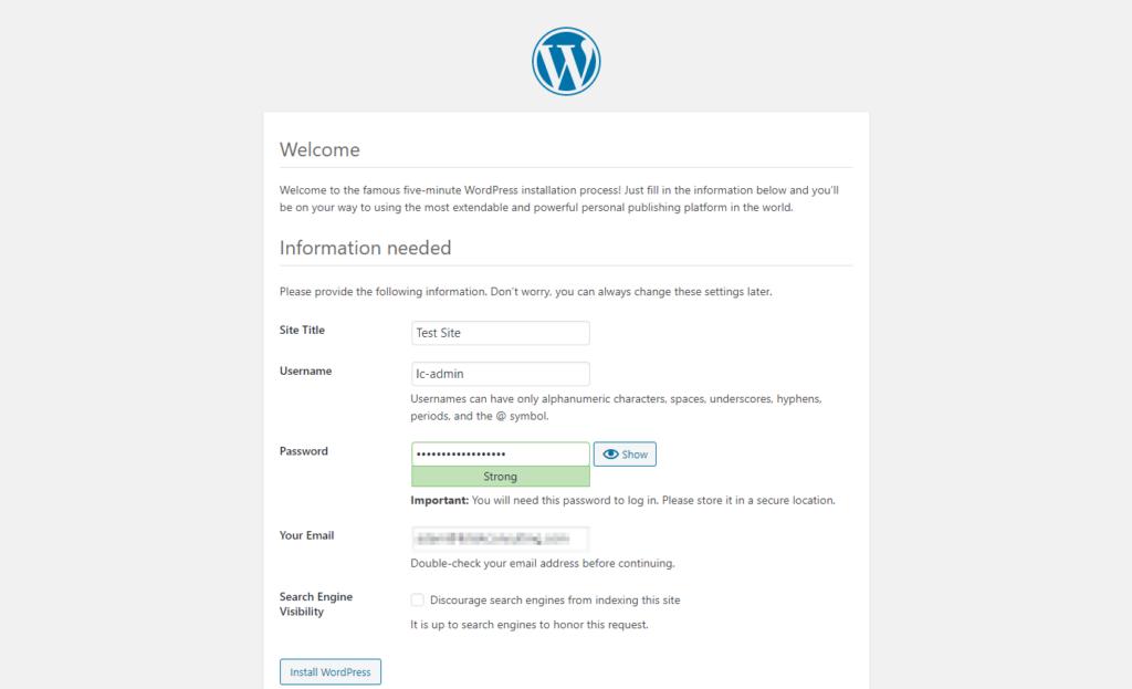 The standard WordPress installation details screen