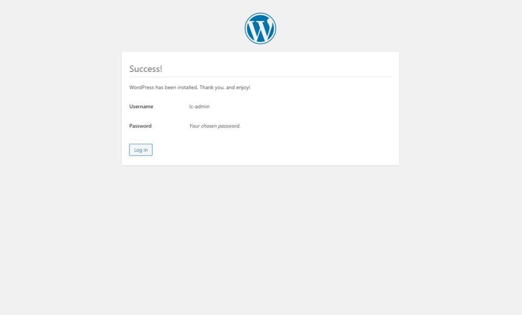The success screen of the WordPress installer