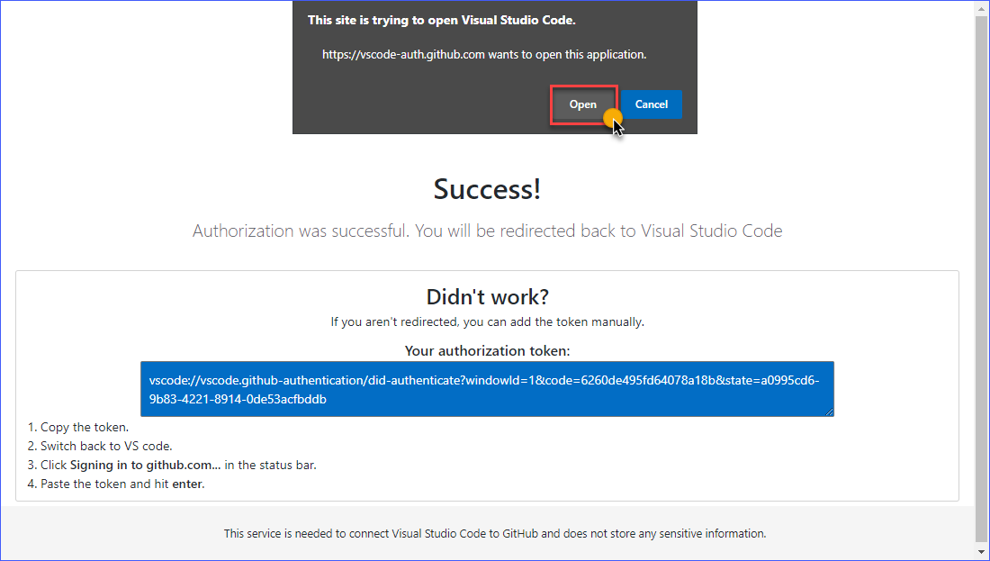 VS Code authorization successful