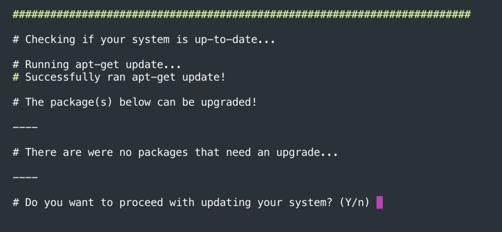 Confirming it's OK to update packages