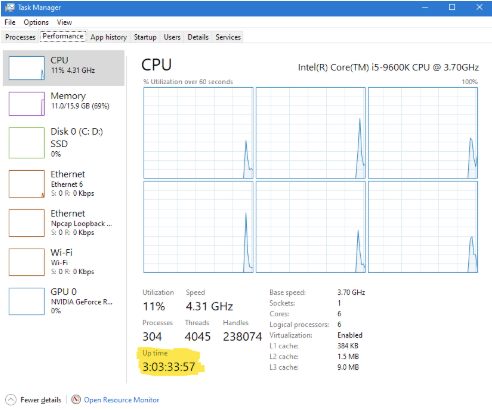 Finding Windows uptime with task manager