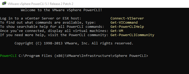 PowerCLI v5.1 console