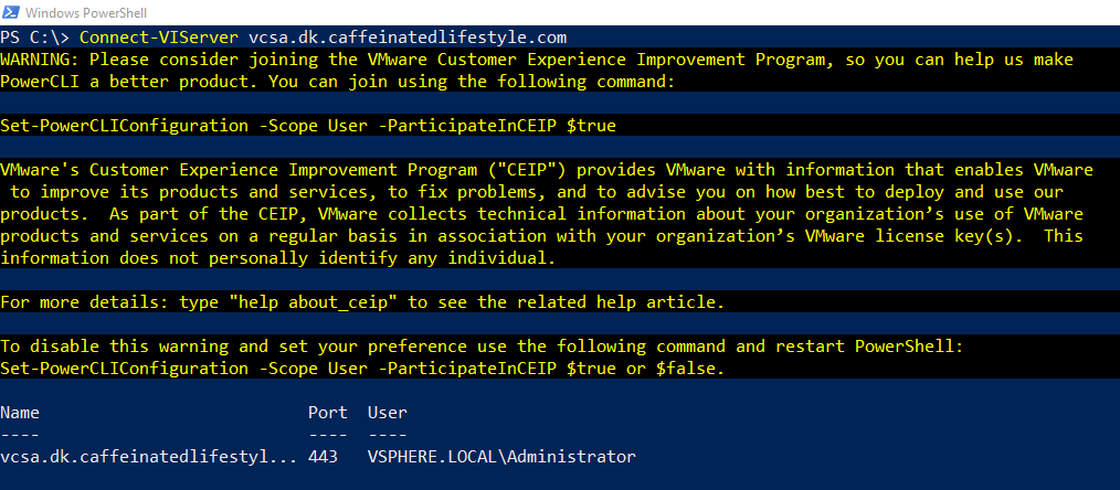 Connecting to vCenter with VMware PowerCLI on Windows