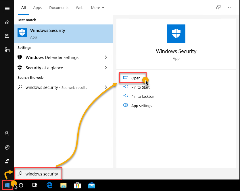Launching the Windows Security App in Windows 10