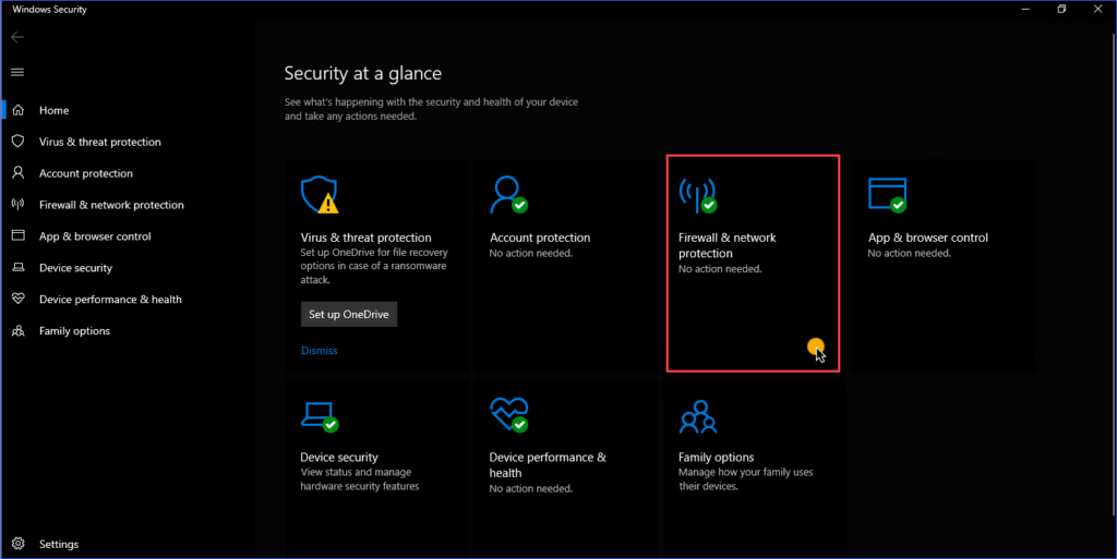 The Windows Security App home