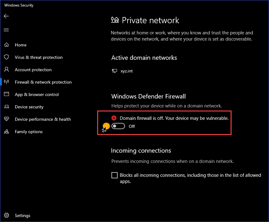 Disable Windows Firewall for the network profile