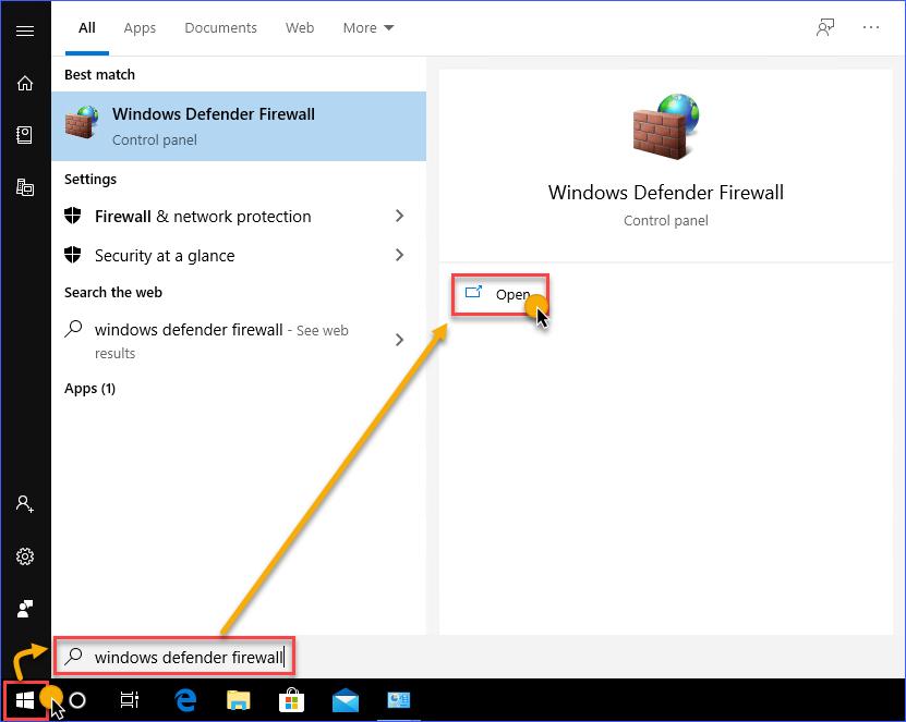 Open Windows Defender Firewall the Start Menu Search
