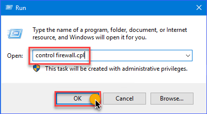 Open Windows Defender Firewall the Run Dialog