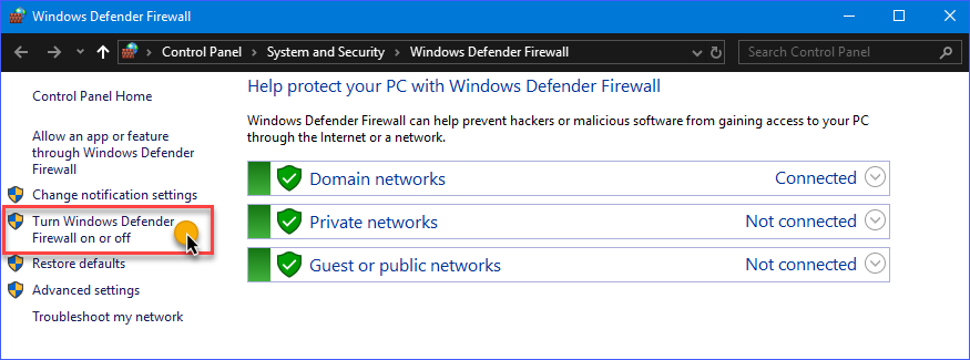 The network profiles list in Windows Defender Firewall