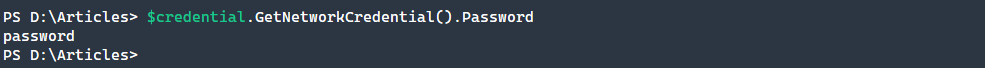Finding the password on a PSCredential object