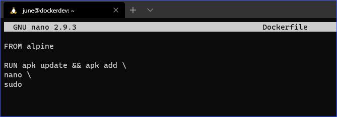 Dockerfile being edited using nano
